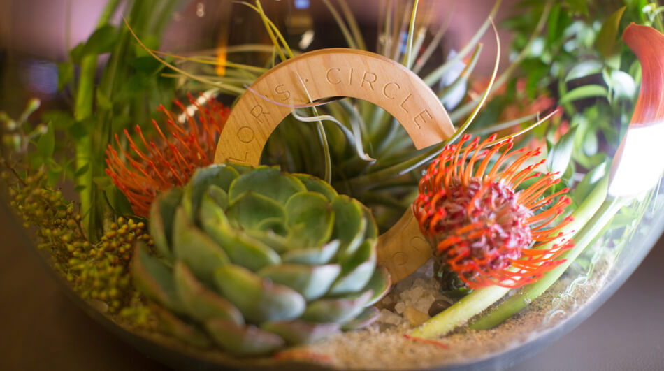 Flowers and succulents grace the tables at the Chancellor's Circle event in 2015. Photo by Sonya Yruel.